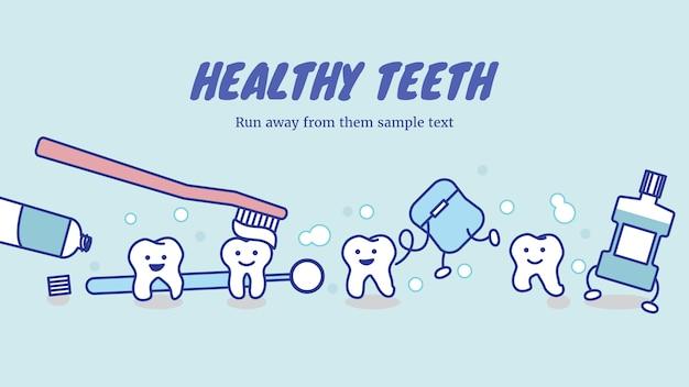 Bonne dentition saine et équipement de soins dentaires Vecteur Premium