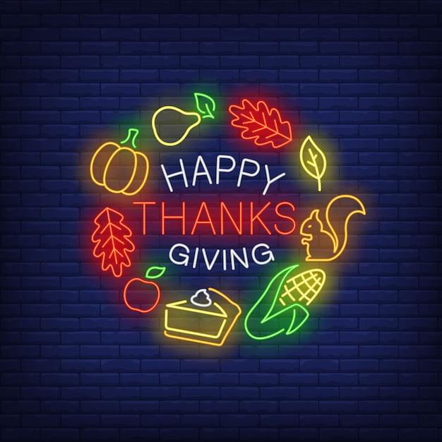 Bonne enseigne au néon de thanksgiving Vecteur gratuit