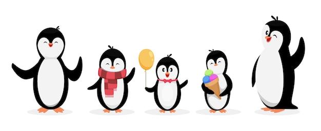 Bonne Famille De Pingouins. Pingouins Isolés Sur Fond Blanc. Ensemble D'animaux De Personnage De Dessin Animé Mignon. Illustration De La Famille De Pingouins, Animal D'hiver De Dessin Animé Vecteur Premium