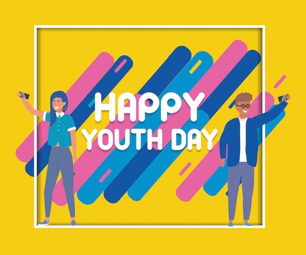 Bonne fête de l'affiche de la fête de la jeunesse Vecteur gratuit