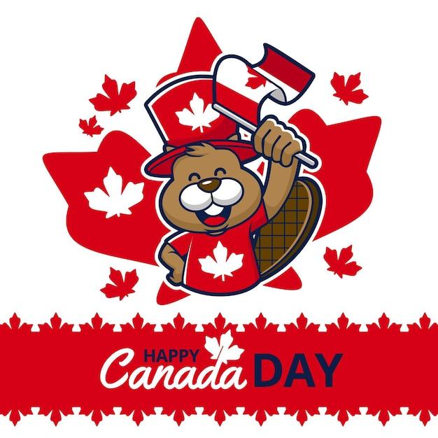 Bonne Fête Du Canada Avec Castor Et Drapeau Vecteur gratuit