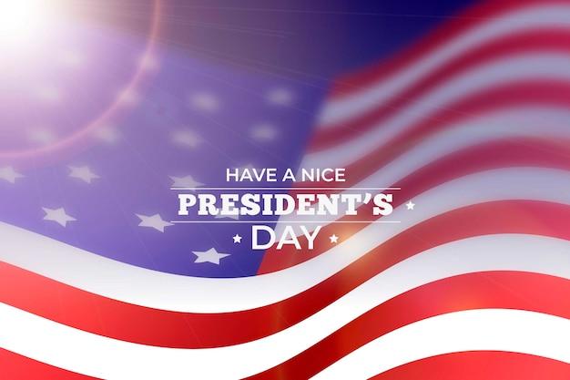Bonne Fête Du Président Avec Drapeau Réaliste Et Flou Vecteur gratuit