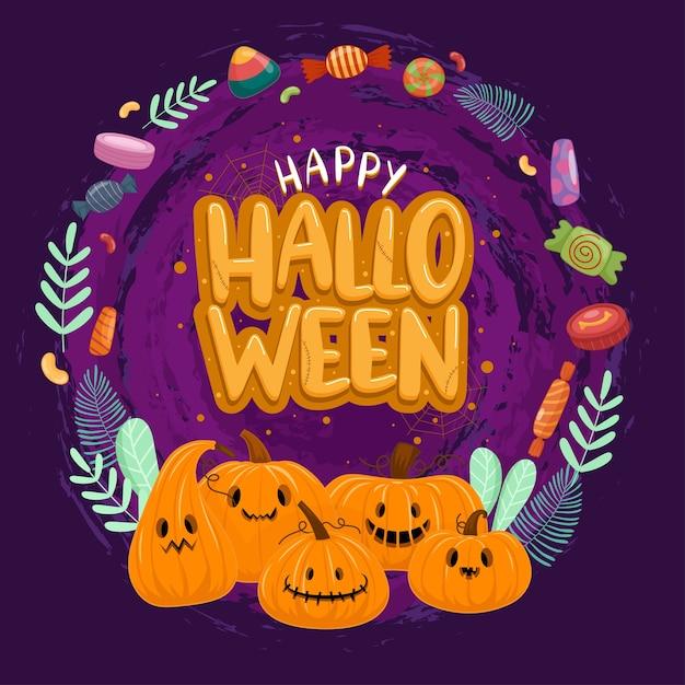 Bonne Fête D'halloween Avec Citrouille Et Bonbons Vecteur gratuit