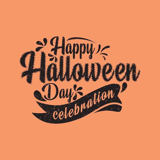Bonne fête de halloween, lettrage de conception typographique Vecteur Premium