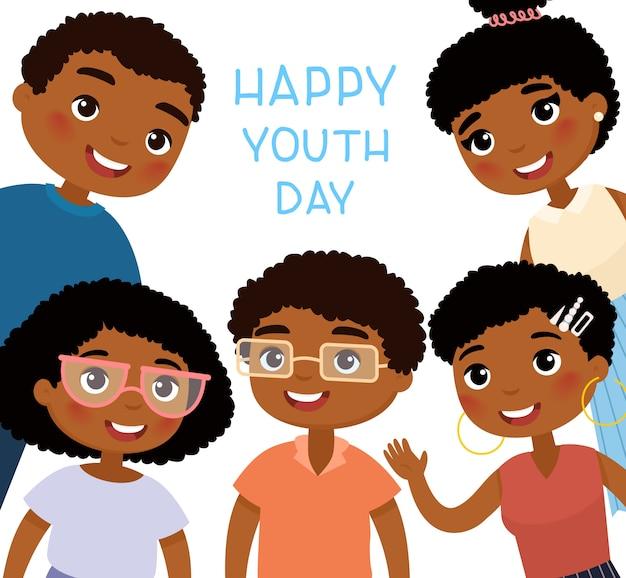 Bonne fête de la jeunesse. cinq jeunes femmes afro-américaines et amis de jeunes hommes. personnage de dessin animé drôle. Vecteur Premium