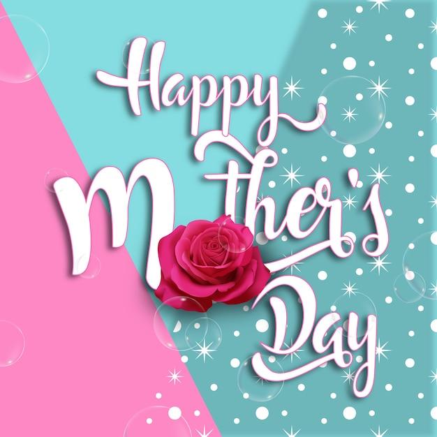 Bonne fête des mères amusante et beau fond Vecteur Premium