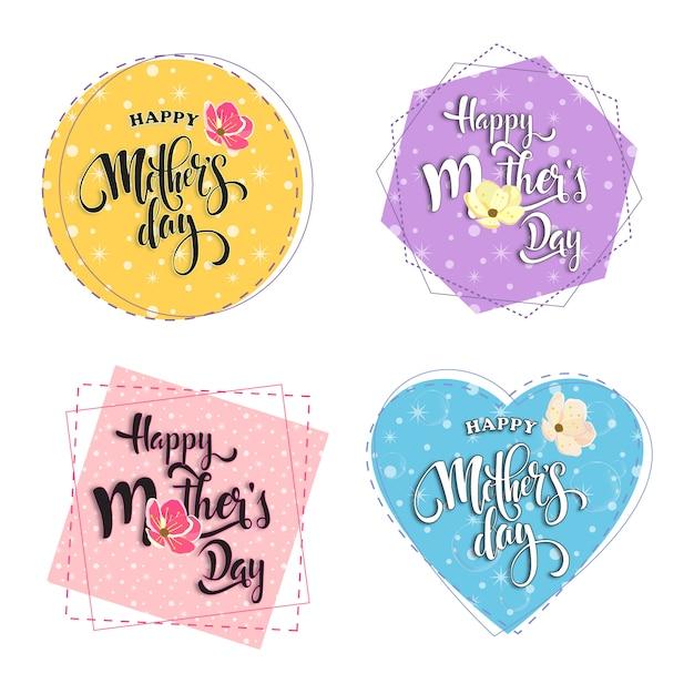 Bonne fête des mères dans des cadres pastels Vecteur Premium