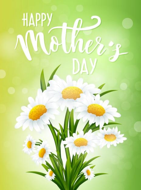 Bonne fête des mères avec des fleurs de camomille Vecteur Premium