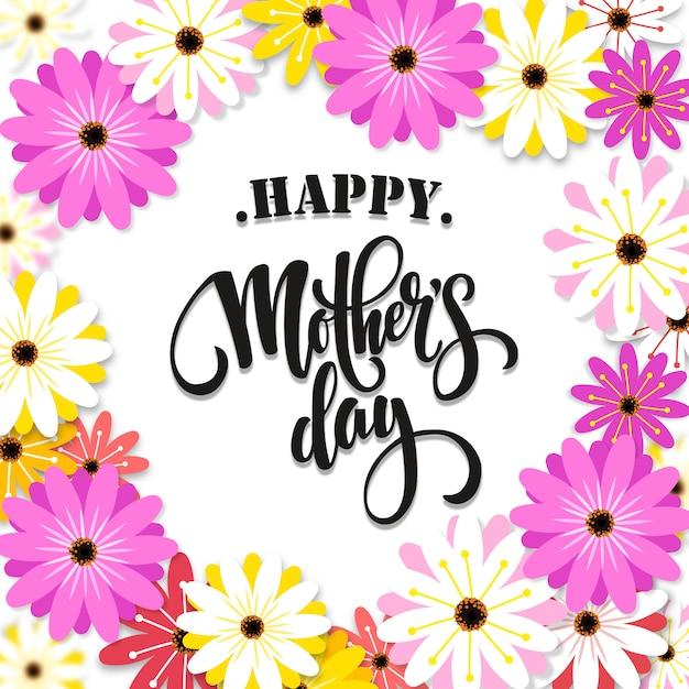 Bonne fête des mères en fond de fleurs de printemps Vecteur Premium