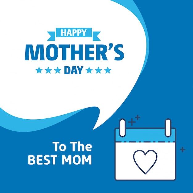 Bonne fête des mères lettrage fond bleu Vecteur gratuit