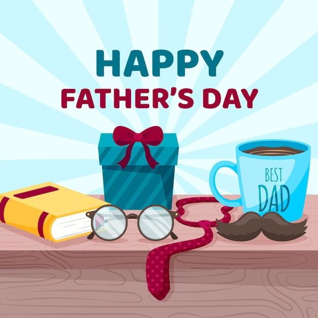Bonne Fête Des Pères Avec Cadeaux Et Cravate Vecteur gratuit