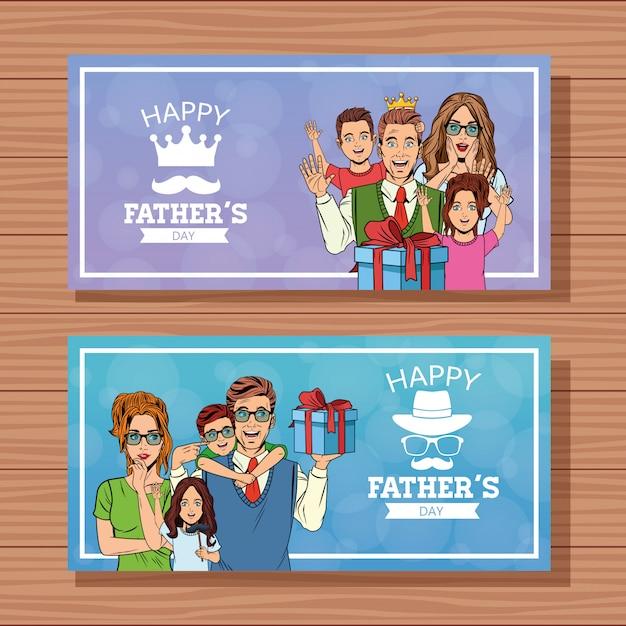 Bonne fête des pères cartes de bannières Vecteur Premium