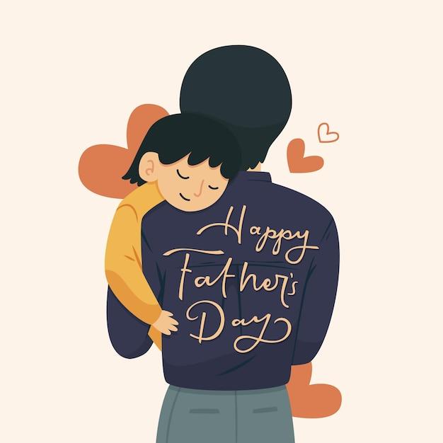 Bonne Fête Des Pères Avec Homme Et Enfant Vecteur gratuit
