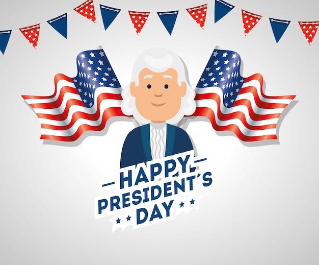 Bonne Fête Des Présidents Avec Drapeaux Usa Et Guirlandes Vecteur Premium