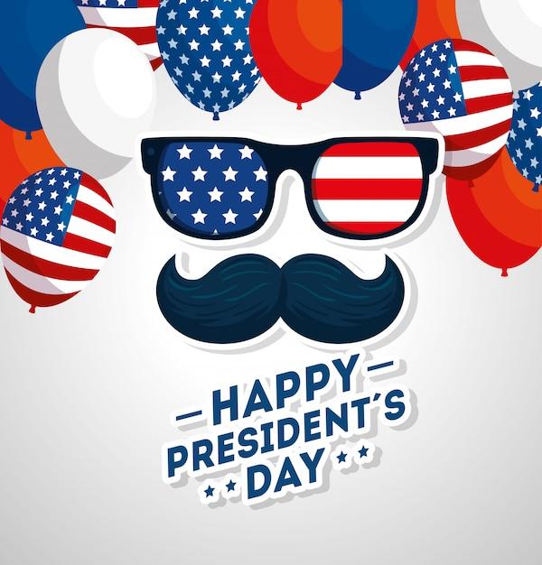 Bonne Fête Des Présidents Avec Moustache Et Lunettes Vecteur Premium