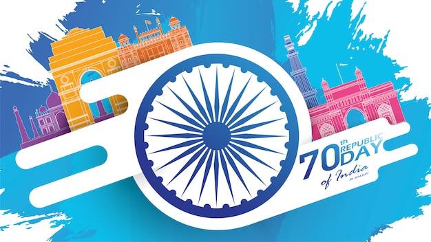 Bonne fête de la république indienne Vecteur Premium