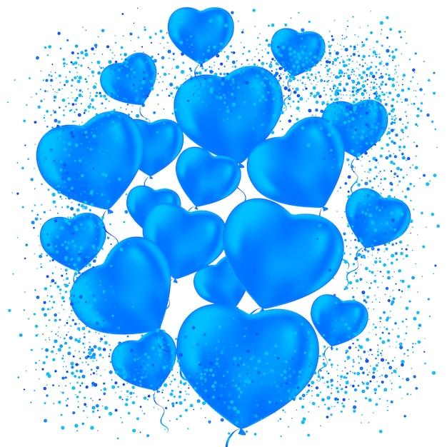 Bonne Fête De La Saint-valentin. Ballons De Fête Givrés Pour La Conception D'événements. Décorations De Fête Pour Anniversaire, Anniversaire, Fête. Ballons En Forme De Coeur. Vecteur Premium