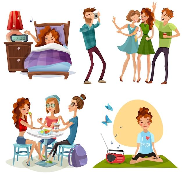 Bonne journée avec des amis 4 icônes Vecteur gratuit