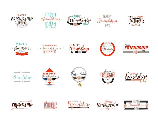 Bonne journée de l'amitié. conception colorée typographique de vecteur. insignes Vecteur Premium