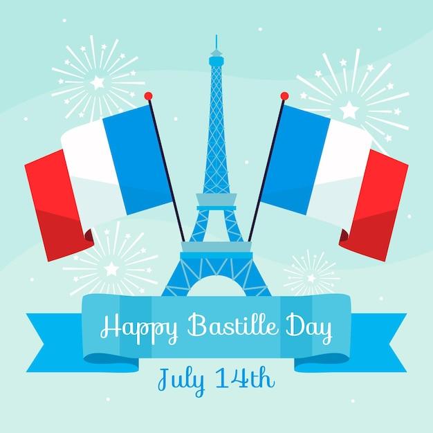 Bonne Journée Bastille Avec Tour Eiffel Et Drapeaux Vecteur gratuit