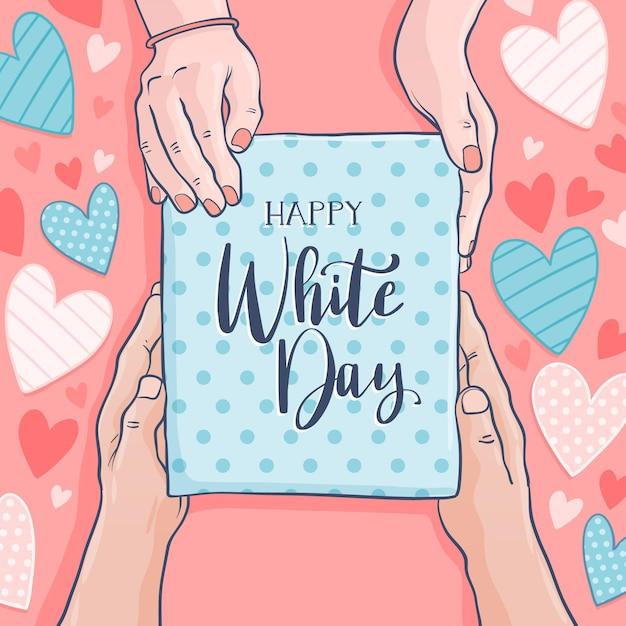 Bonne Journée Blanche Dessinée à La Main Vecteur gratuit