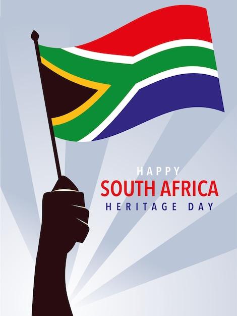 Bonne Journée Du Patrimoine Sud-africain, Mains Tenant Le Drapeau De L'illustration De L'afrique Du Sud Vecteur Premium