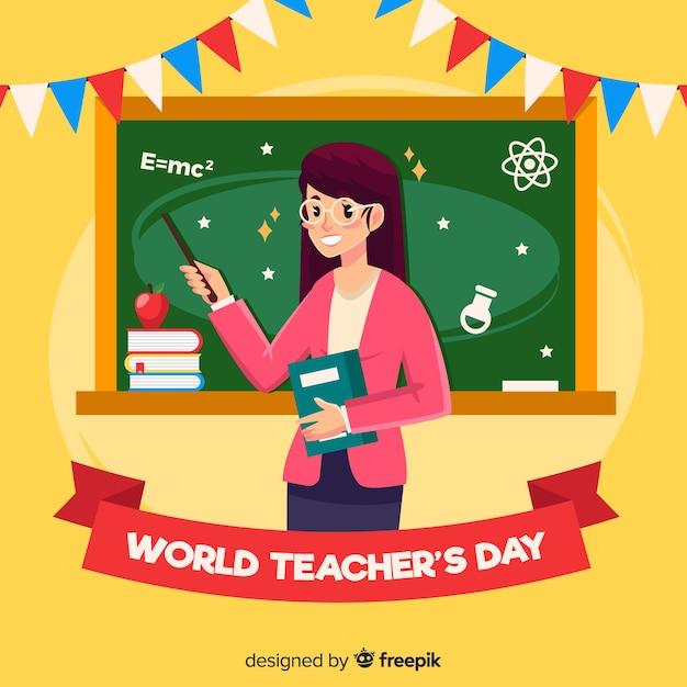 Bonne journée du professeur monde avec enseignante et tableau noir Vecteur gratuit
