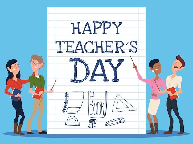Bonne Journée Des Enseignants Avec La Conception Du Groupe D'enseignants Vecteur Premium