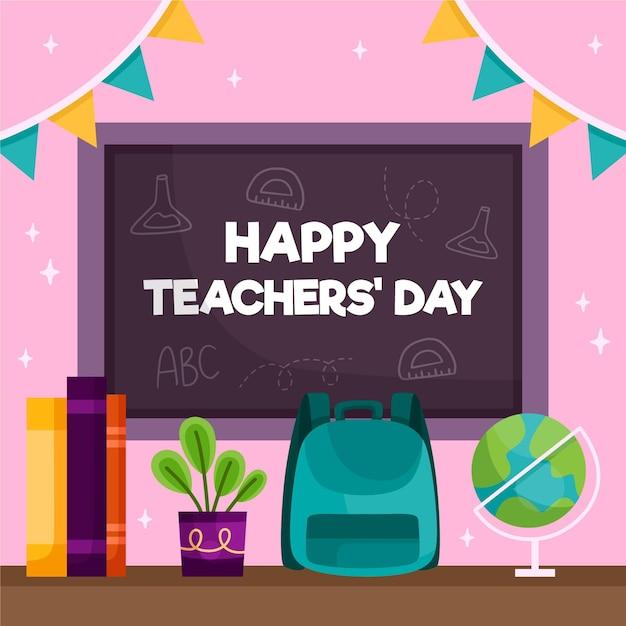 Bonne Journée Des Enseignants Avec Tableau Noir Et Sac à Dos Vecteur Premium