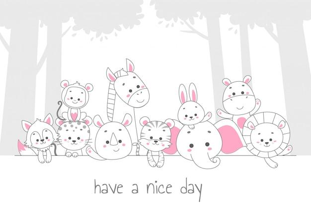 Bonne journée. illustration vectorielle de mignon animal ligne art Vecteur Premium