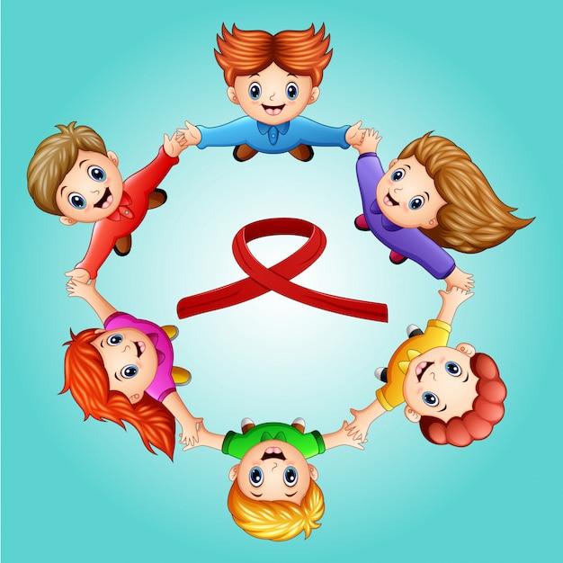 Bonne Journée De La Jeunesse Avec La Circulaire Des Enfants Vecteur Premium