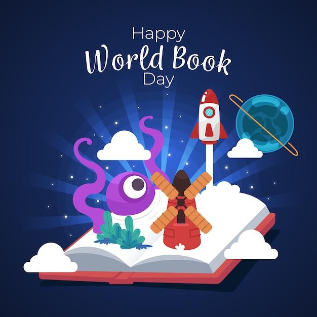 Bonne Journée Mondiale Du Livre Avec Livre Ouvert Vecteur gratuit