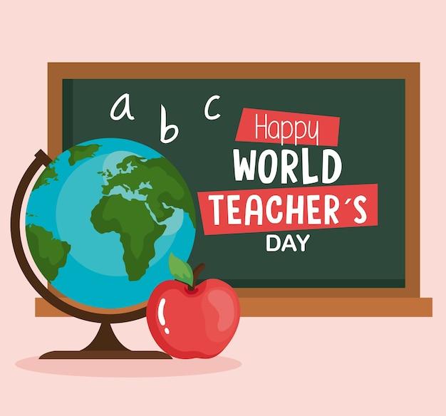 Bonne Journée Mondiale Des Enseignants, Avec Globe Terrestre, Pomme Et Tableau Noir Vecteur Premium