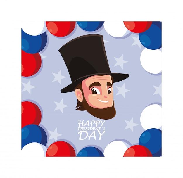 Bonne Journée Présidentielle, Président Abraham Lincoln Vecteur Premium