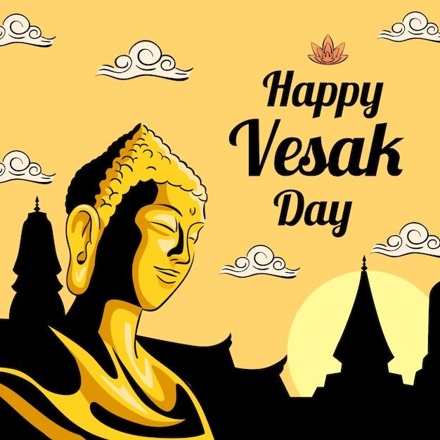 Bonne Journée Vesak Avec Bouddha Et Lotus Vecteur gratuit
