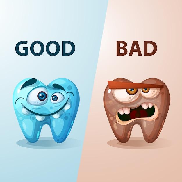 Bonne et mauvaise illustration de la dent. Vecteur Premium