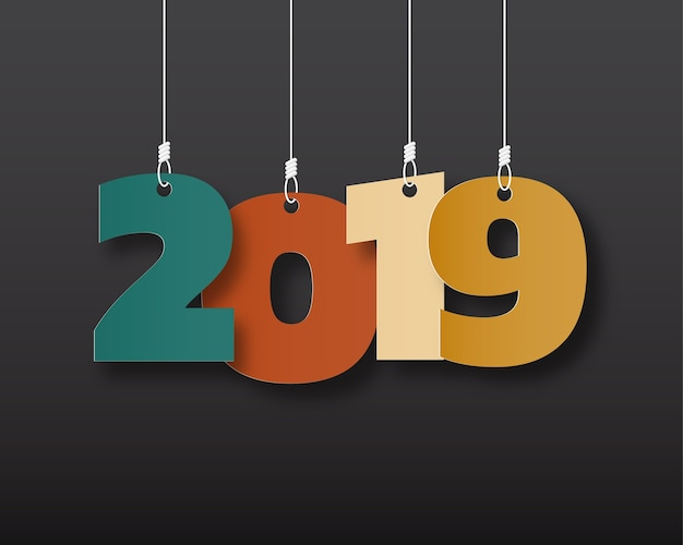 Bonne nouvelle année 2019. carte de voeux. design coloré. illustration vectorielle Vecteur Premium