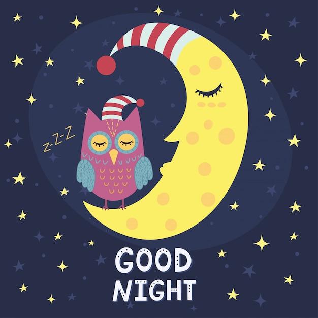 Bonne nuit carte avec lune endormie et joli hibou. Vecteur Premium