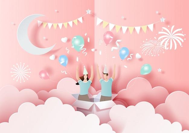 Bonne saint-valentin, carte contextuelle, joli couple amoureux mains levées et amusez-vous en fête. Vecteur Premium