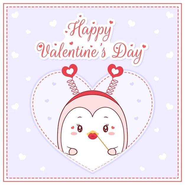 Bonne Saint Valentin Fille Mignonne De Pingouin Dessin Carte Postale Grand Coeur Vecteur Premium