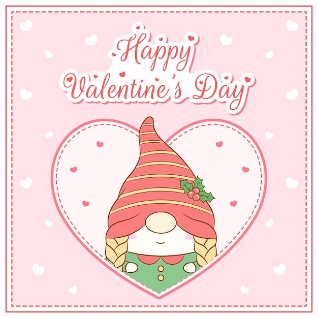 Bonne Saint Valentin Jolie Fille Gnome Dessin Carte Postale Grand Coeur Vecteur Premium