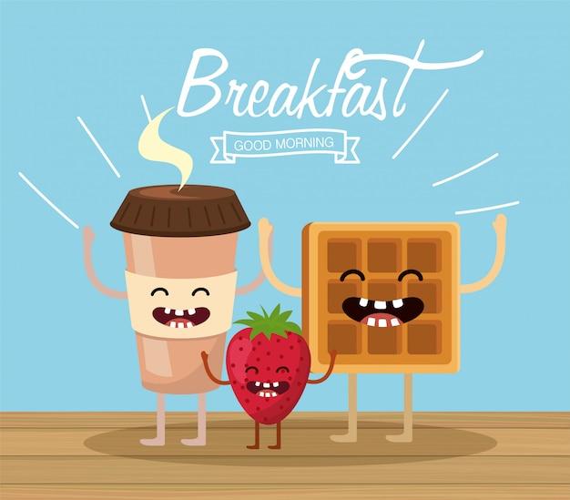 Bonne tasse en plastique de café avec gaufres et fraises Vecteur Premium