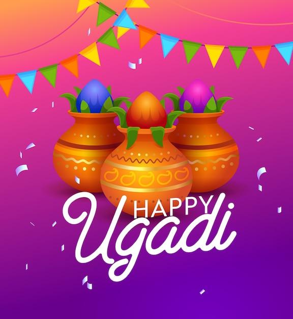 Bonne Typographie De Vacances Indiennes Ugadi. Premier Jour Du Calendrier Lunisolaire Hindou. Célébration Importante Vecteur Premium