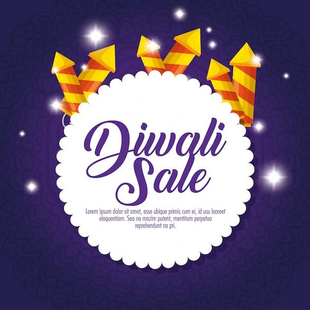 Bonne vente de diwali avec feux d'artifice Vecteur gratuit