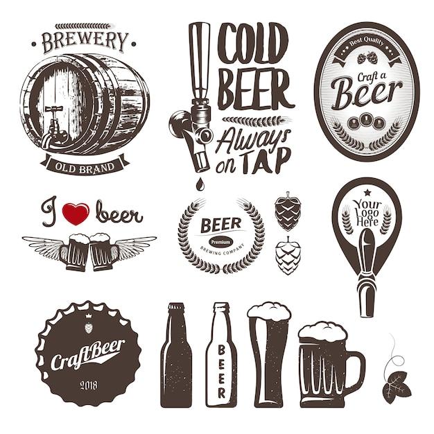 Bonnes étiquettes De Brasserie De Bière Artisanale, Emblèmes Et éléments De Conception. Ensemble Vintage Vecteur Premium