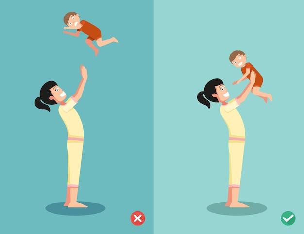 Les Bonnes Et Les Mauvaises Façons De Jouer Avec Le Bébé. Illustration Vecteur Premium