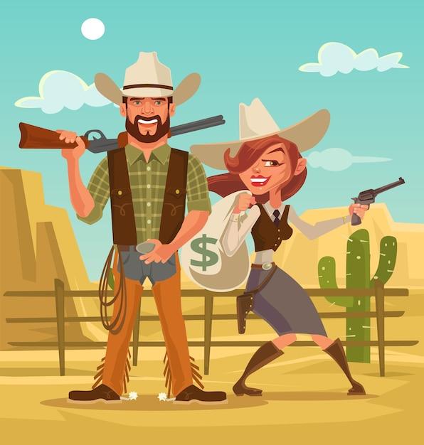 Bonnie Et Clyde. Voleurs De Femmes Et D'hommes. Voleurs Occidentaux. Illustration De Dessin Animé Plat Vecteur Premium