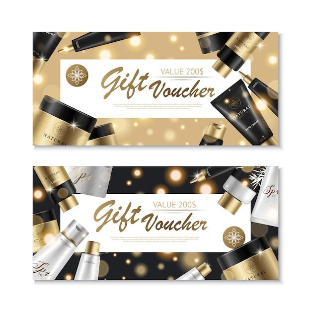Bons cosmétiques contenant des images de produits de beauté et des collections de marques de luxe Vecteur gratuit