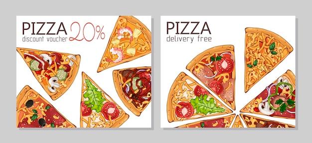 Bons de réduction. modèle pour les produits publicitaires: pizza. Vecteur Premium