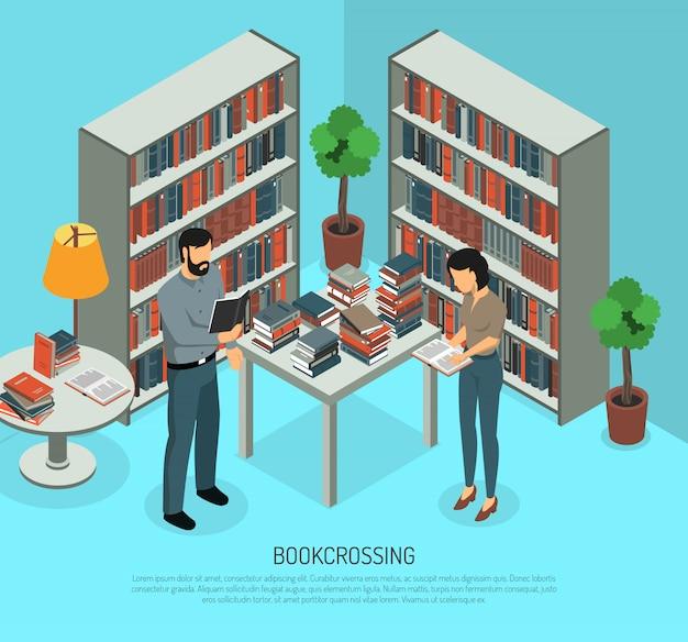 Bookcrossing dans la composition de la bibliothèque Vecteur gratuit